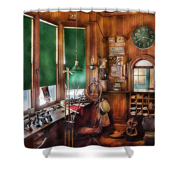 Train - Yard - The stationmasters office  Shower Curtain by Mike Savad