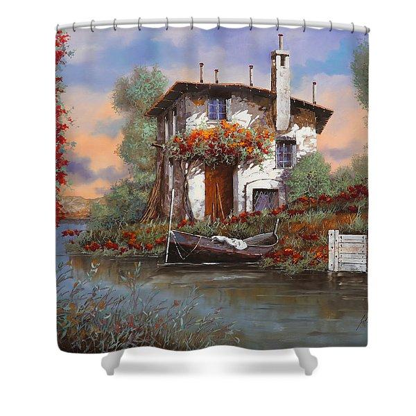 tramonto con bougainvillea Shower Curtain by Guido Borelli