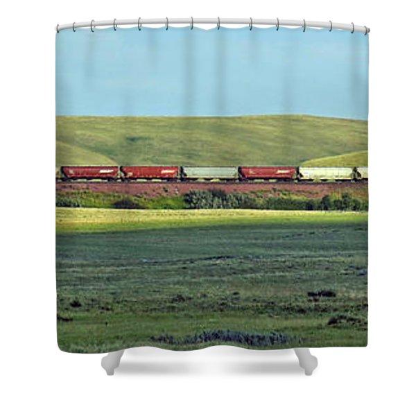 Transportation. Panorama With A Train. Shower Curtain by Ausra Paulauskaite