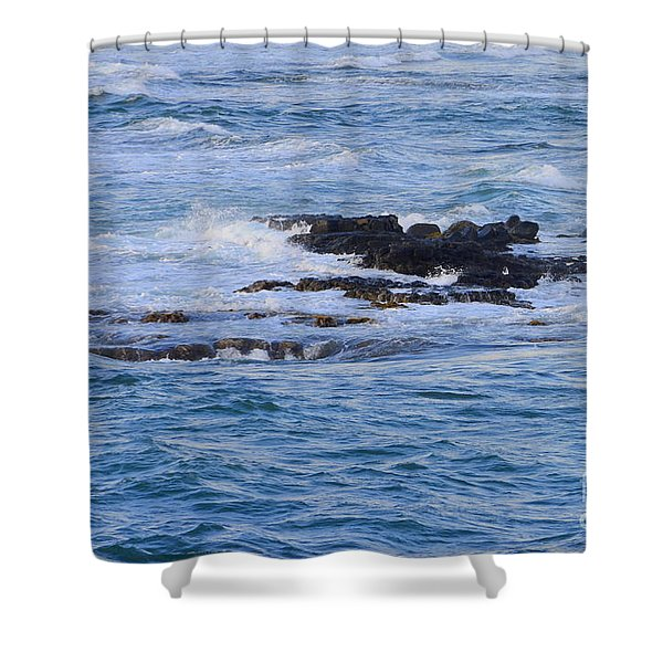 Treacherous Shorebreak Shower Curtain by Mary Deal