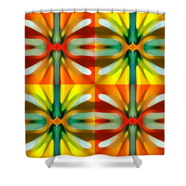 Tree Light Square Pattern Shower Curtain by Amy Vangsgard