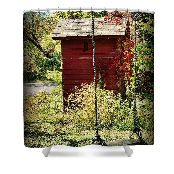 Tree Swing By The Outhouse Shower Curtain by Paul Ward