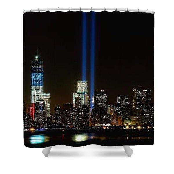Tribute In Light From Bayonne Shower Curtain by Nick Zelinsky
