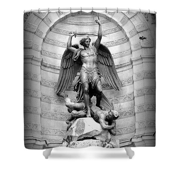 Triumphant Saint Michael Shower Curtain by Carol Groenen
