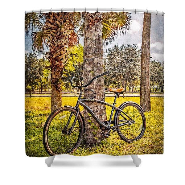 Tropical Bicycle Shower Curtain by Debra and Dave Vanderlaan