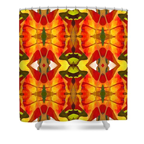 Tropical Leaf Pattern 2 Shower Curtain by Amy Vangsgard