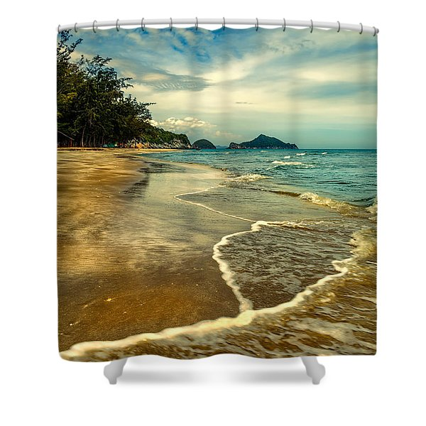 Tropical Waves Shower Curtain by Adrian Evans