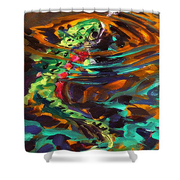 Trout and Fly II Shower Curtain by Savlen Art