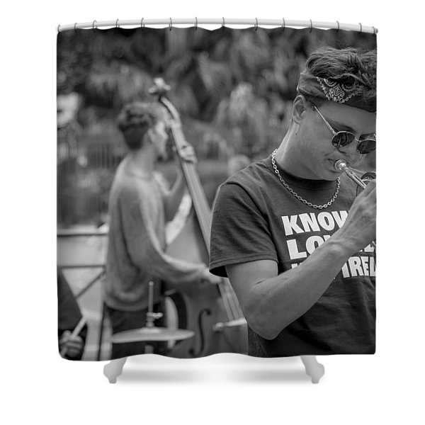 Trumpet in the Big Easy Shower Curtain by David Morefield