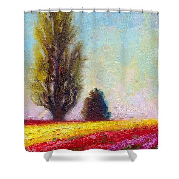 Tulip Sentinels Shower Curtain by Talya Johnson