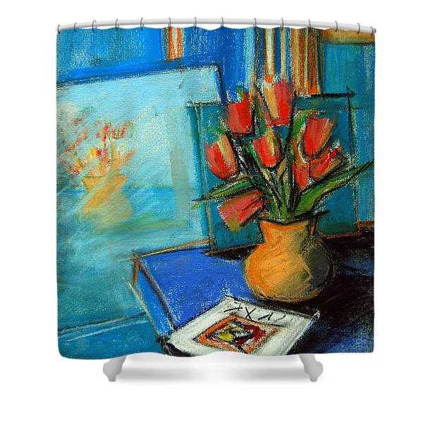 Tulips In The Mirror Shower Curtain by Mona Edulesco