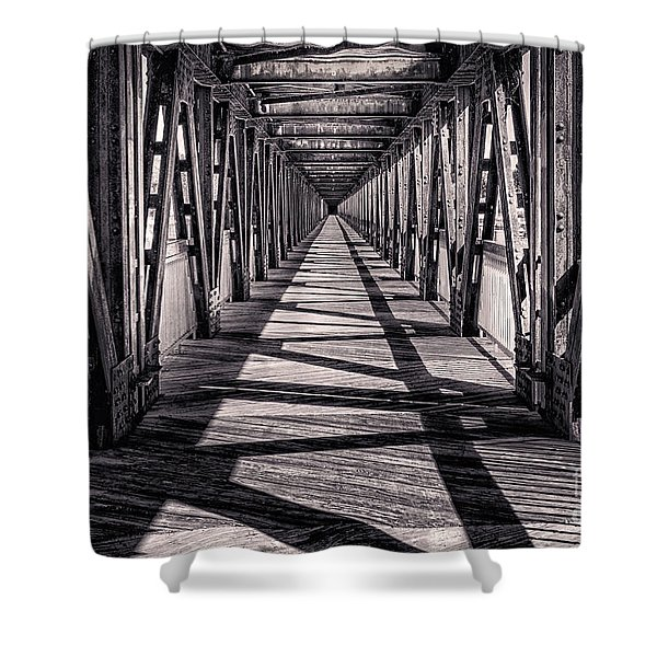 Tulsa Pedestrian Bridge In Black And White Shower Curtain by Tamyra Ayles