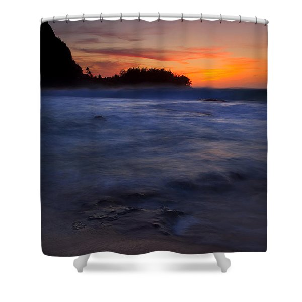 Tunnels Beach Dusk Shower Curtain by Mike  Dawson