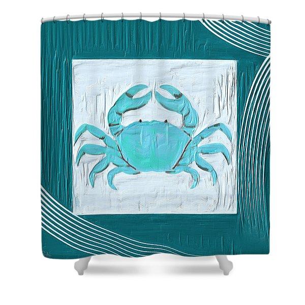 Turquoise Seashells XIX Shower Curtain by Lourry Legarde