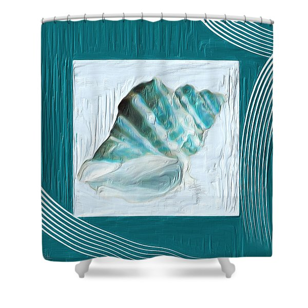 Turquoise Seashells XXII Shower Curtain by Lourry Legarde