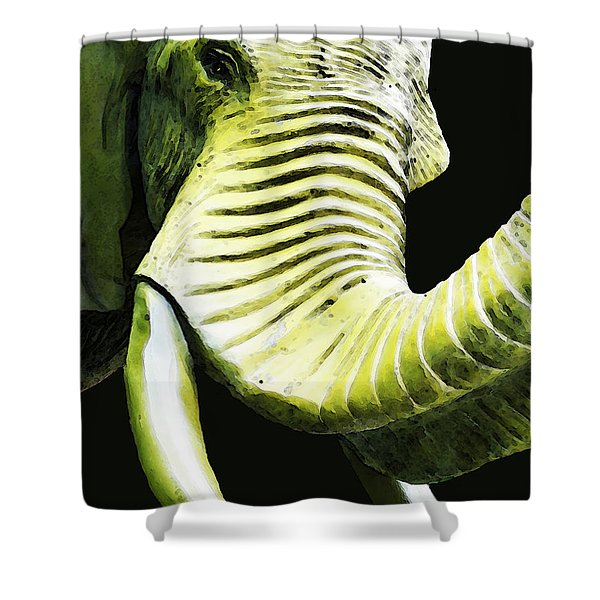 Tusk 1 - Dramatic Elephant Head Shot Art Shower Curtain by Sharon Cummings