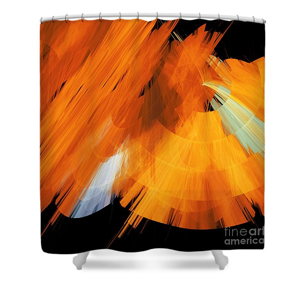 TuTu Stage Left Abstract Orange Shower Curtain by Andee Design
