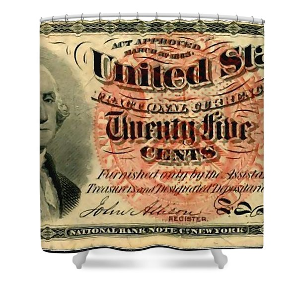 Twenty Five Cent 4th Issue U.s. Fractional Currency Fr 1302 Shower Curtain by Lanjee Chee