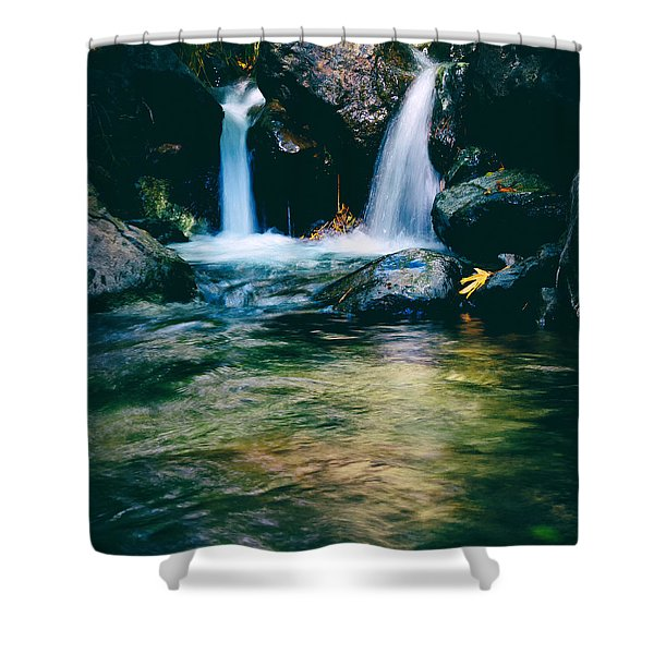 twin waterfall Shower Curtain by Stylianos Kleanthous