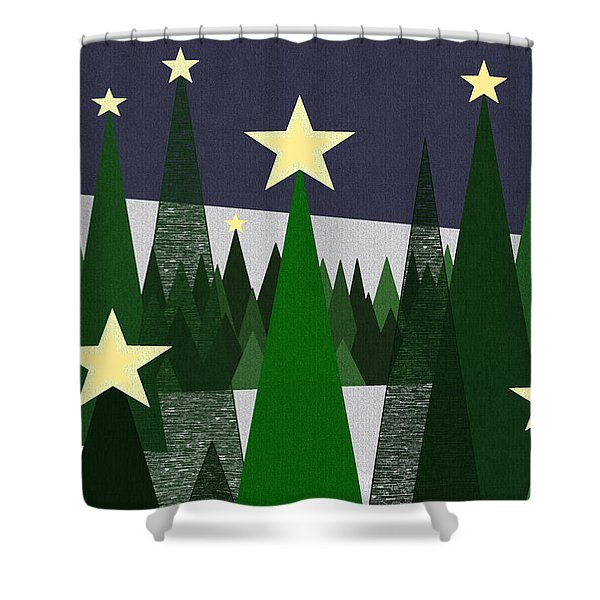 Twinkling Forest Shower Curtain by Val Arie