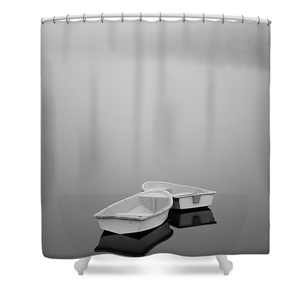 Two Boats and Fog Shower Curtain by Dave Gordon
