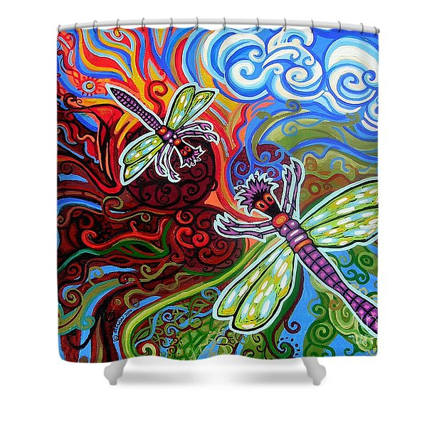 Two Dragonflies Shower Curtain by Genevieve Esson
