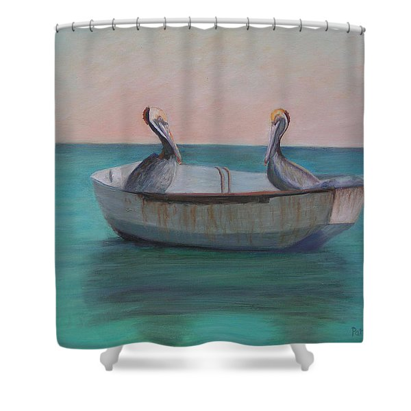 Two Friends In A Dinghy Shower Curtain by Patty Weeks