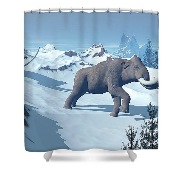 Two Large Mammoths Walking Slowly Shower Curtain by Elena Duvernay