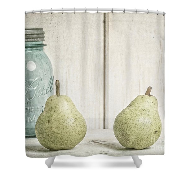 Two Pear Still Life Shower Curtain by Edward Fielding