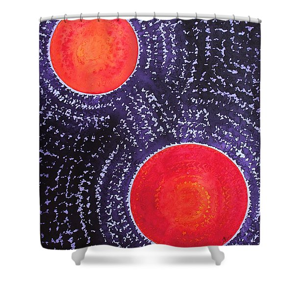 Two Suns Original Painting Shower Curtain by Sol Luckman