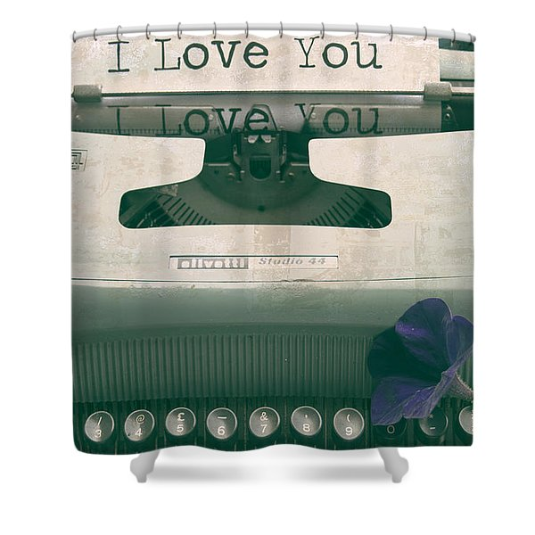Typewriter Love Shower Curtain by Nomad Art And  Design