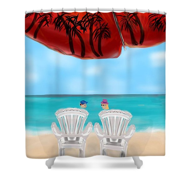 Umbrella View Shower Curtain by Christine Fournier