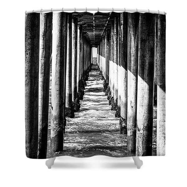 Under Huntington Beach Pier Black and White Picture Shower Curtain by Paul Velgos