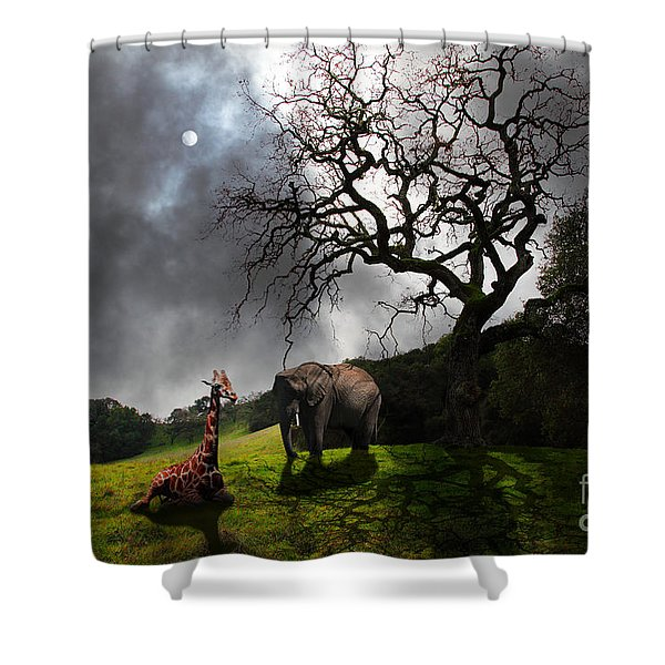 Under The Old Oak Tree - 5D21097 - horizontal Shower Curtain by Wingsdomain Art and Photography
