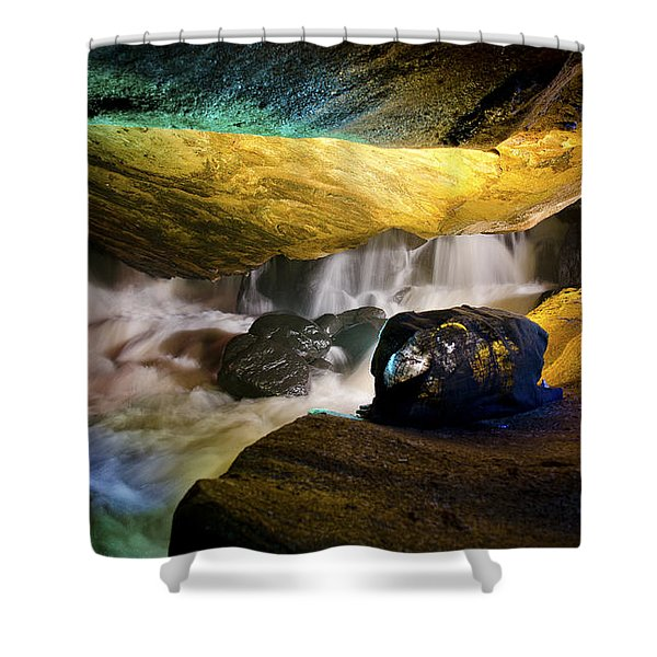 Underground waterfall 2 Shower Curtain by Mark Papke