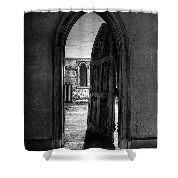 Unhinged - Old Gothic Door In An Abandoned Castle Shower Curtain by Gary Heller