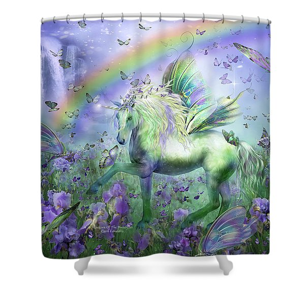 Unicorn Of The Butterflies Shower Curtain by Carol Cavalaris
