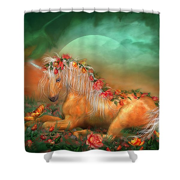 Unicorn Of The Roses Shower Curtain by Carol Cavalaris