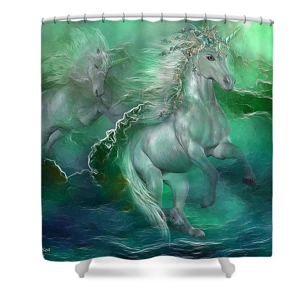 Unicorns Of The Sea Shower Curtain by Carol Cavalaris