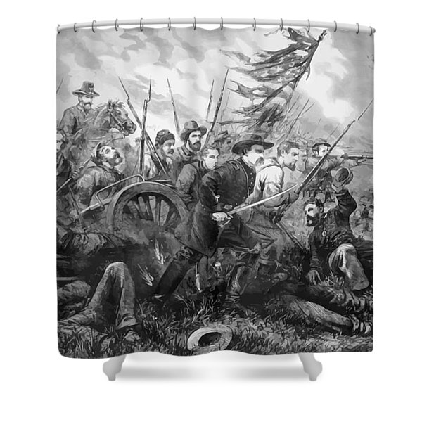 Union Charge At The Battle Of Gettysburg Shower Curtain by War Is Hell Store