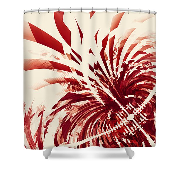 Untitled Red Shower Curtain by Scott Norris