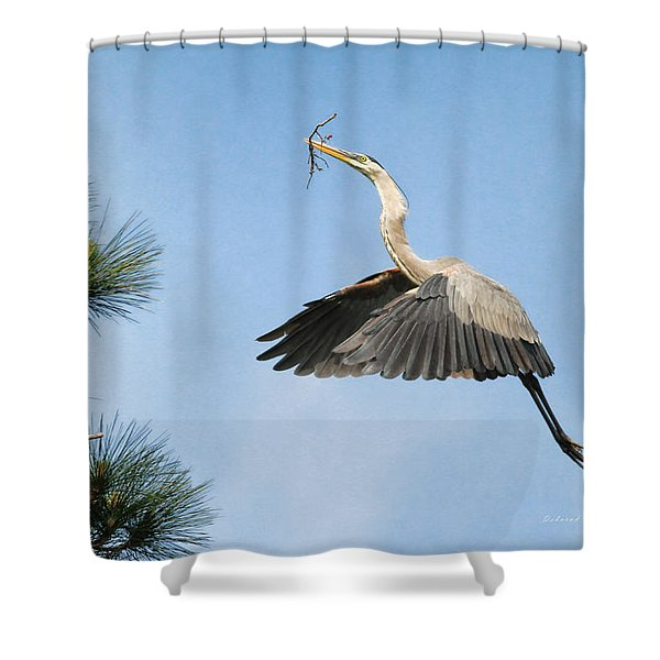 Up To The Nest Shower Curtain by Deborah Benoit