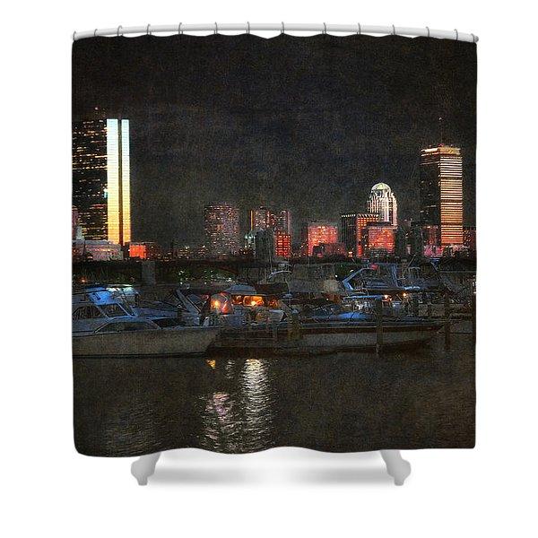 Urban Boston Skyline Shower Curtain by Joann Vitali