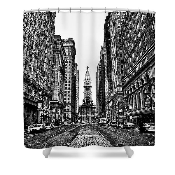 Urban Canyon - Philadelphia City Hall Shower Curtain by Bill Cannon