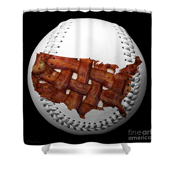 US Bacon Weave Map Baseball Square Shower Curtain by Andee Design