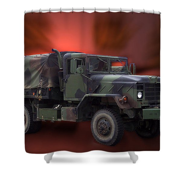 Us Military Truck Shower Curtain by Thomas Woolworth