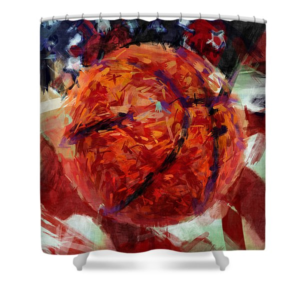 Usa Flag And Basketball Abstract Shower Curtain by David G Paul