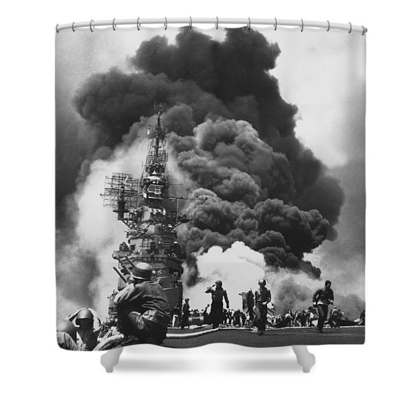 Uss Bunker Hill Kamikaze Attack Shower Curtain by War Is Hell Store