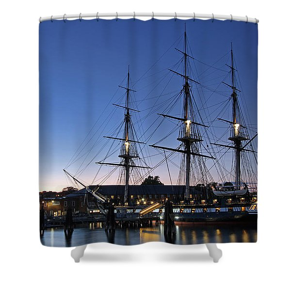 USS Constitution and Bunker Hill Monument Shower Curtain by Juergen Roth