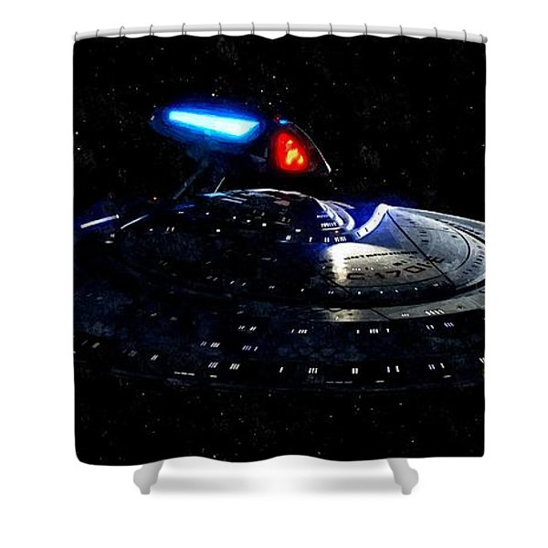 USS Enterprise Shower Curtain by Florian Rodarte